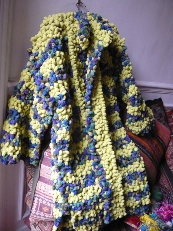 RESERVED.MARGAUX hand knitted eccentric coat,green,blue,violet,warm,soft.A beautiful gift..