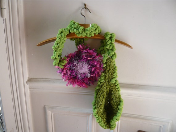 handmade crochet green scarf or belt with a big green hand knitted leaf and a big pink-purple flower.FREE SHIPPING.
