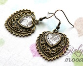 Retro earrings with floral hearts