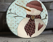 "Primitive Folk Art Americana Country ANGEL Snowman on Blue and Red Polka Dot Background - 1.5"" Pinback Button"