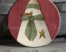 "Primitive Folk Art Americana Country Plump Snowman on Maroon Background - 1.5"" Pinback Button"