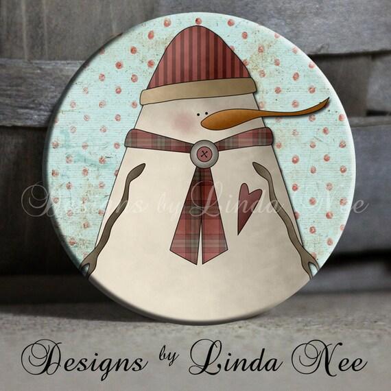 "Primitive Folk Art Americana Country Plump Snowman, 1.5"" Pinback Button, Christmas Snowman Button, Snowman Pinback, Snowmen Magnet, Pin"