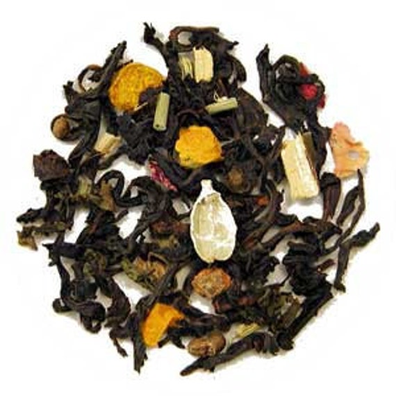 Fresh Tea Ayurvedic Black Tea Base Private Label with Brewing Instructions on Label Gold Resealable Pouch