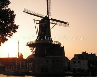 Dutch windmill in sunrise - photography print