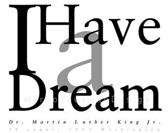 I Have a Dream typography poster 12x12