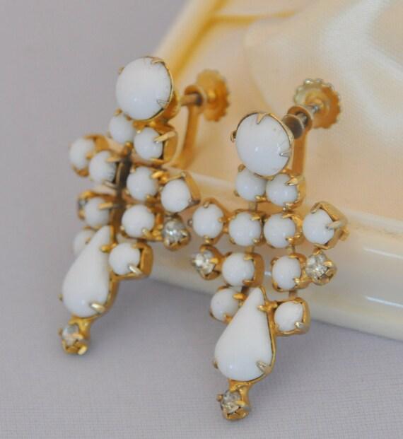 Vintage White Glass Earrings Dangle with Rhinestones - Treasury Item