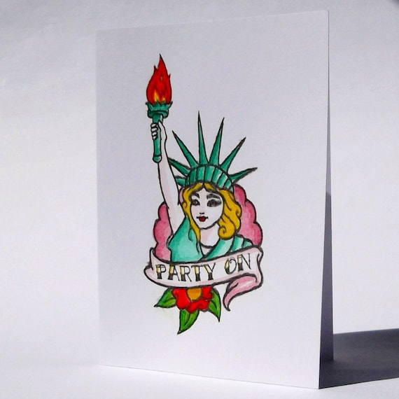 party on . retro tattoo art . hipster birthday card for best, Birthday card