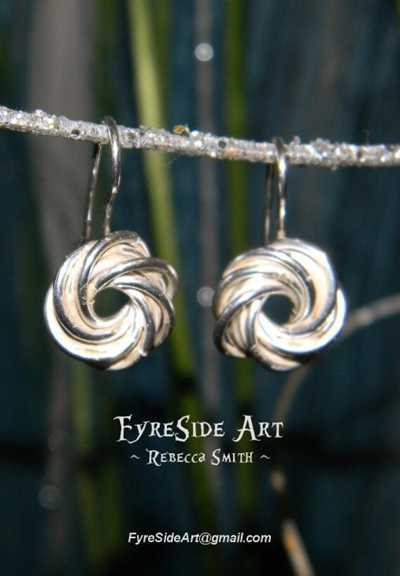 Silver Earrings, original crafted design. Sterling silver. mobius ball twisting spiral ear bobs drops.