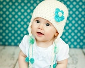 Crochet Pom Pom Beanie Hat with Flower, Photo Prop for Babies and Children