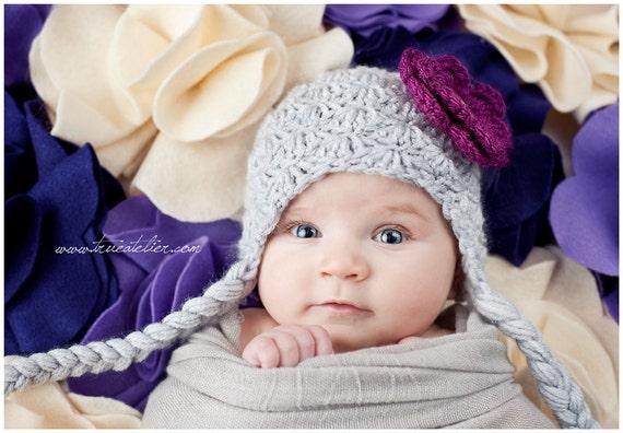 طراحی فروش گل قلاب دوزی طناز کلاه با فلپ گوش و نوارهای برای نوزادان کودکان و بزرگسالان، سرپا نگه داشتن عکس، طراحی سفارشی