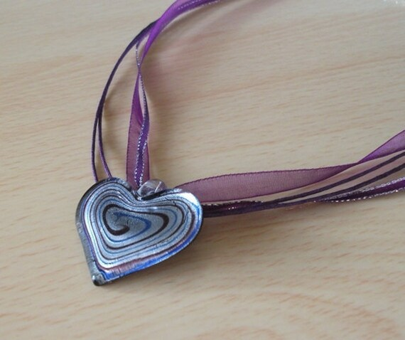 Purple Heart - Dichroic glass, ribbon and cord necklace