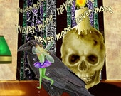 Coaching Lessons. goth fairy skull raven Poe poetry funny. 11x14 unframed limited edition art print