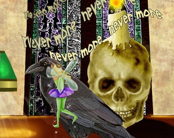 Coaching Lessons. goth fairy skull raven Poe poetry funny. 16x20 unframed limited edition art print