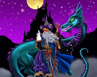Mage Fire. wizard, dragon, fire starter, castle, full moon, starry night. A limited edition art print. 16x20 framed