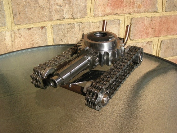 Hot Rod Tank, Recycled Metal Sculpture and Pen Holder