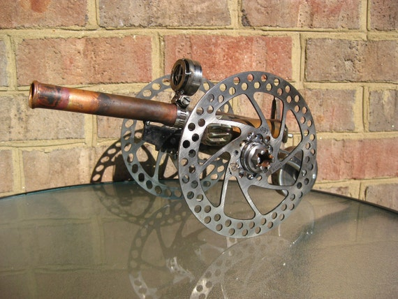Steampunk Cannon, Recycled Metal Sculpture