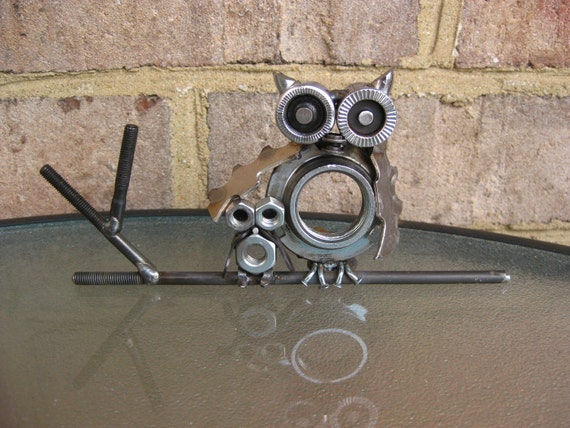 Tootsie The Owl & Her Baby Owl, Recycled Metal Scuplture