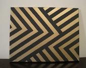 Black & Gold Chevron print canvas painting