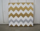 Gold, Silver, and White Chevron print canvas painting