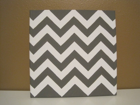 CUSTOM ORDER (2) Gray and White Chevron Print Canvas Paintings