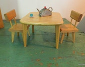 Strombecker Doll Furniture Table and chairs, All Wood 1950's era