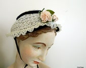 ViNtAgE small ladies or Childs Lace woven Hat with flowers and ribbon BONNET