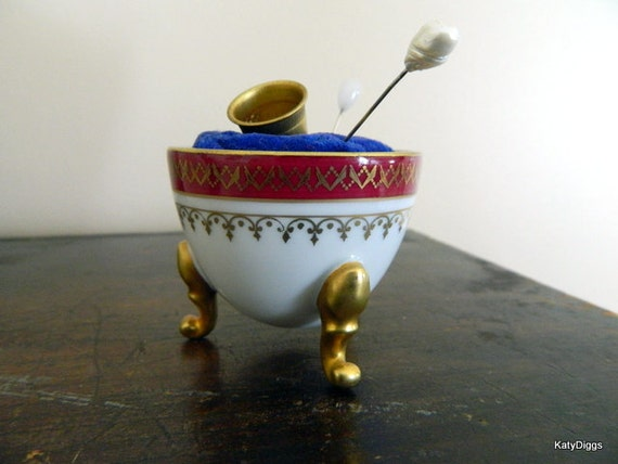 Cute Vintage Limoges Egg Pin Cushion
