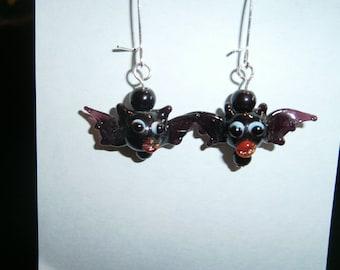 Black Glass Lampwork Bats