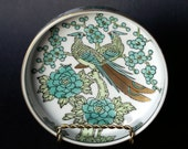 Vintage Gold Imari Japanese Ceramic Serving Bowl Hand-Painted Java Green & Gold Peacocks