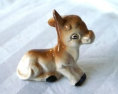 Ceramic Donkey, Vintage Statue of Cute Little Baby Donkey/Mule, Made in Japan