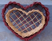 Heart Shaped Wicker Baskets - Set of 2 Natural and Dark Red