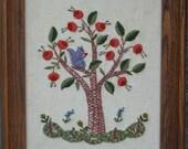Vintage Needlepoint Squirrel in Oak Tree, Wooden Frame