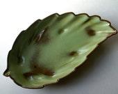 Vintage Frankoma Pottery Leaf Dish