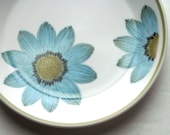 Vintage Noritake Plates with Blue Daisies and Green Trim Made in Japan