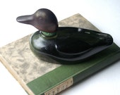 Vintage Avon Mallard Duck Green Glass After Shave Lotion Decanter