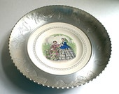 Decorative Round Aluminum Serving Tray with Porcelain Plate in Center Hand Wrought by Farberware