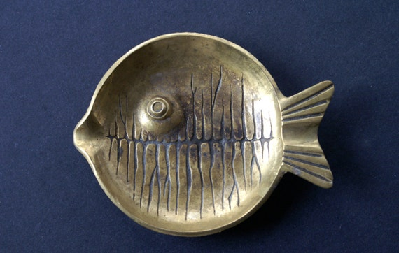 Brass Fish Ashtray Made in Israel