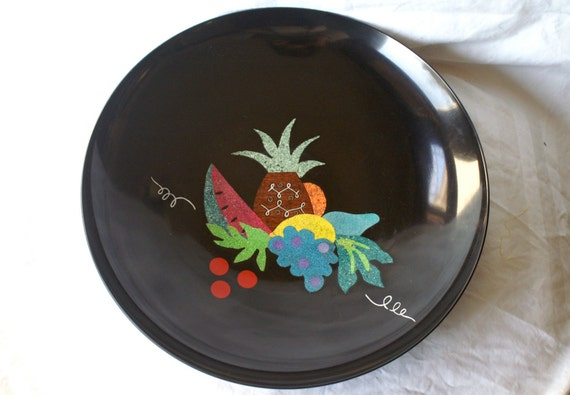Vintage COUROC Salad Serving Bowl with Hand Inlaid Fruit Design