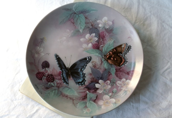 """Porcelain Plate Lena Liu Limited Edition Collector's Plate Purple Butterflies - """"On Gossamer Wings"""" Series"""