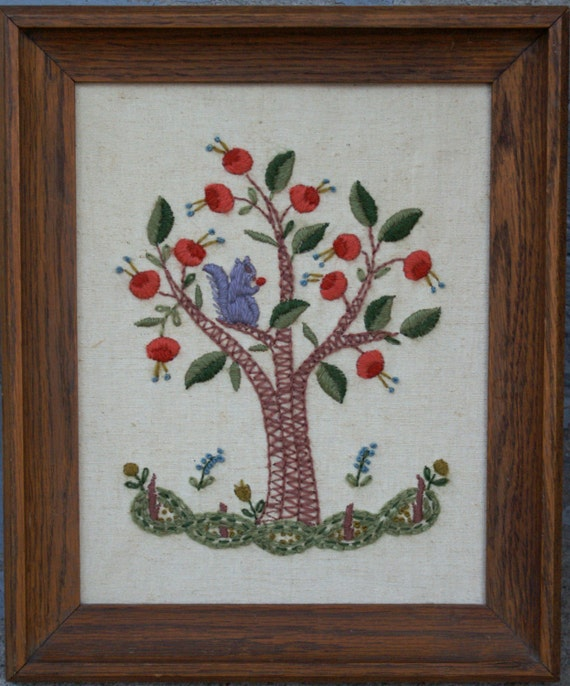 Vintage Needlepoint Squirrel in Oak Tree, Wooden Frame
