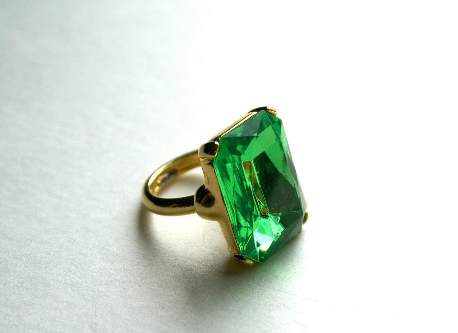 Vintage Goldtone Brilliant Green Radiant Cut by RinnovatoVintage