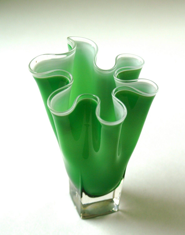 Vintage Art Glass Vase Green