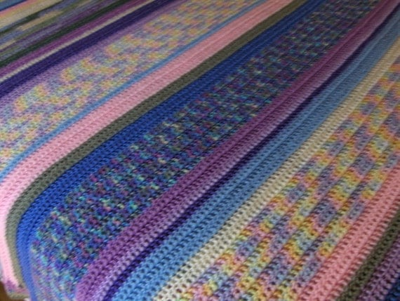 Crochet Queen Size Blanket : Queen Size Pastel Crochet Afghan Blanket by faerieknitz on Etsy