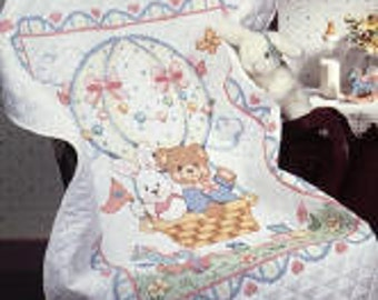 Bear and Bunny Balloon Baby Quilt