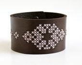 DIY Kit - Cross Stitched Leather Cuff, Dark Brown Leather with Folk Art Design - RedGateStitchery