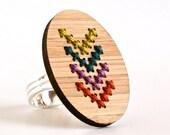 Modern Cross Stitch Adjustable Ring with Multi-color Chevron Design