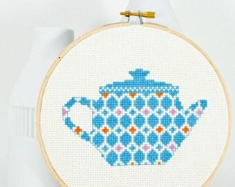 Cross stitch pattern PDF - Happy teapot in blue, orange, and purple