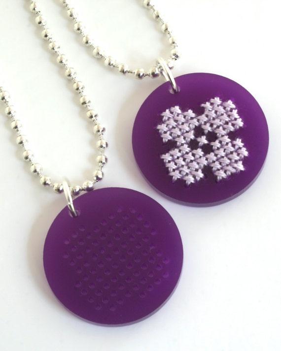 DIY Cross Stitch Necklace Kit, Purple Flower Pendant