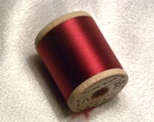 Vintage 1930's Corticelli Pure Silk Hand Sewing Embroidery Thread 100 Yd. Wooden spool Shade 4215 Garnet Red