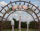 Rustic Woodland Wedding Peony Flower Trellis Altar Decor -Shabby Chic-
